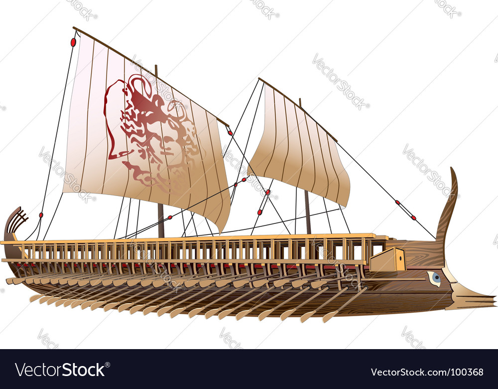Greece bireme vector image