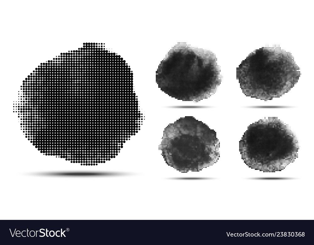 Halftone grunge circle pattern set