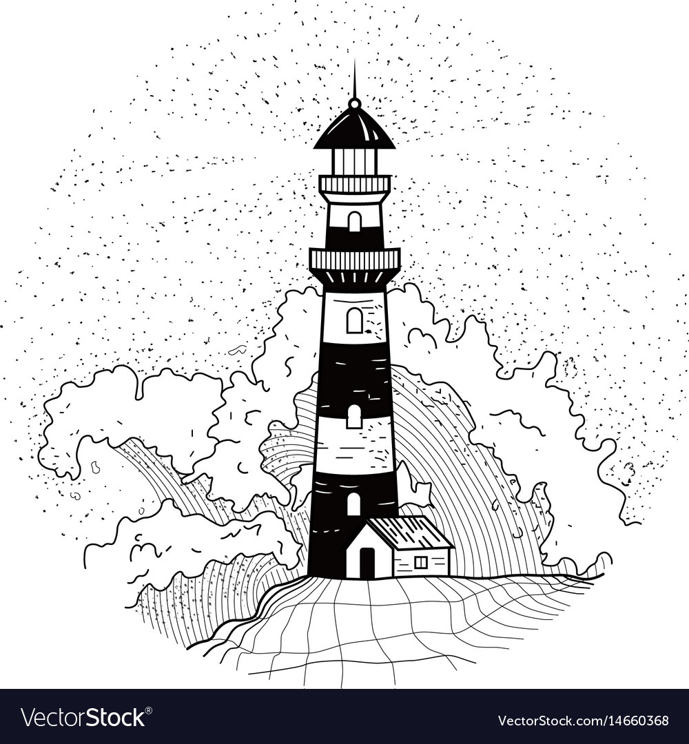 Lighthouse in waves with spray and foam