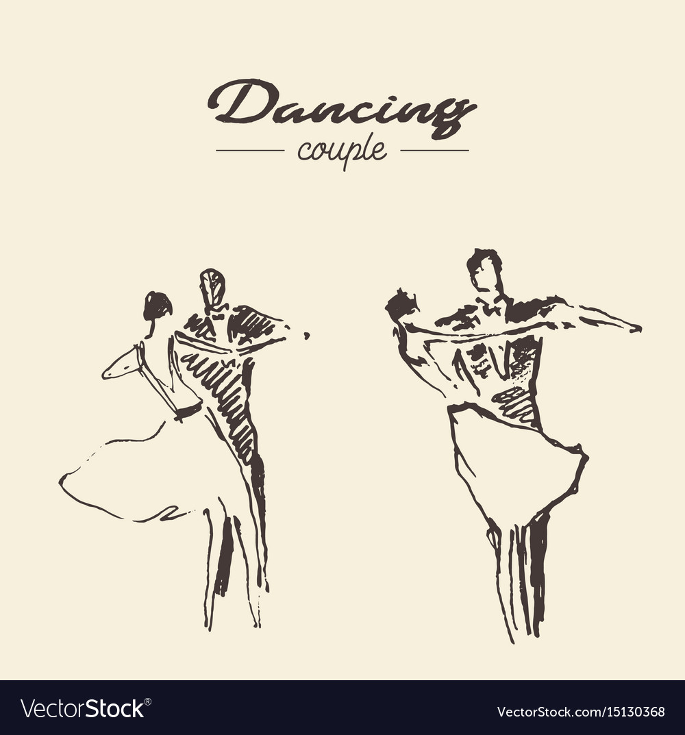 Set Dancing Couple Draw Sketch Royalty Free Vector Image