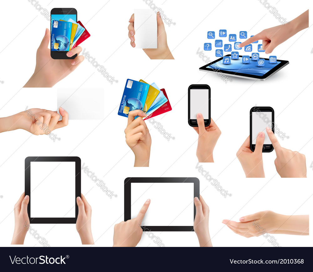 Set of hands holding different business objects vector image