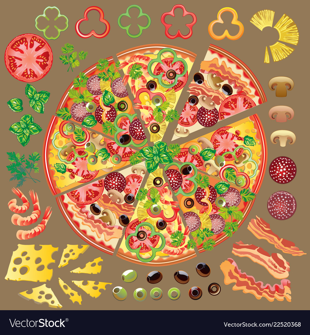 Set of ingredients for making pizza