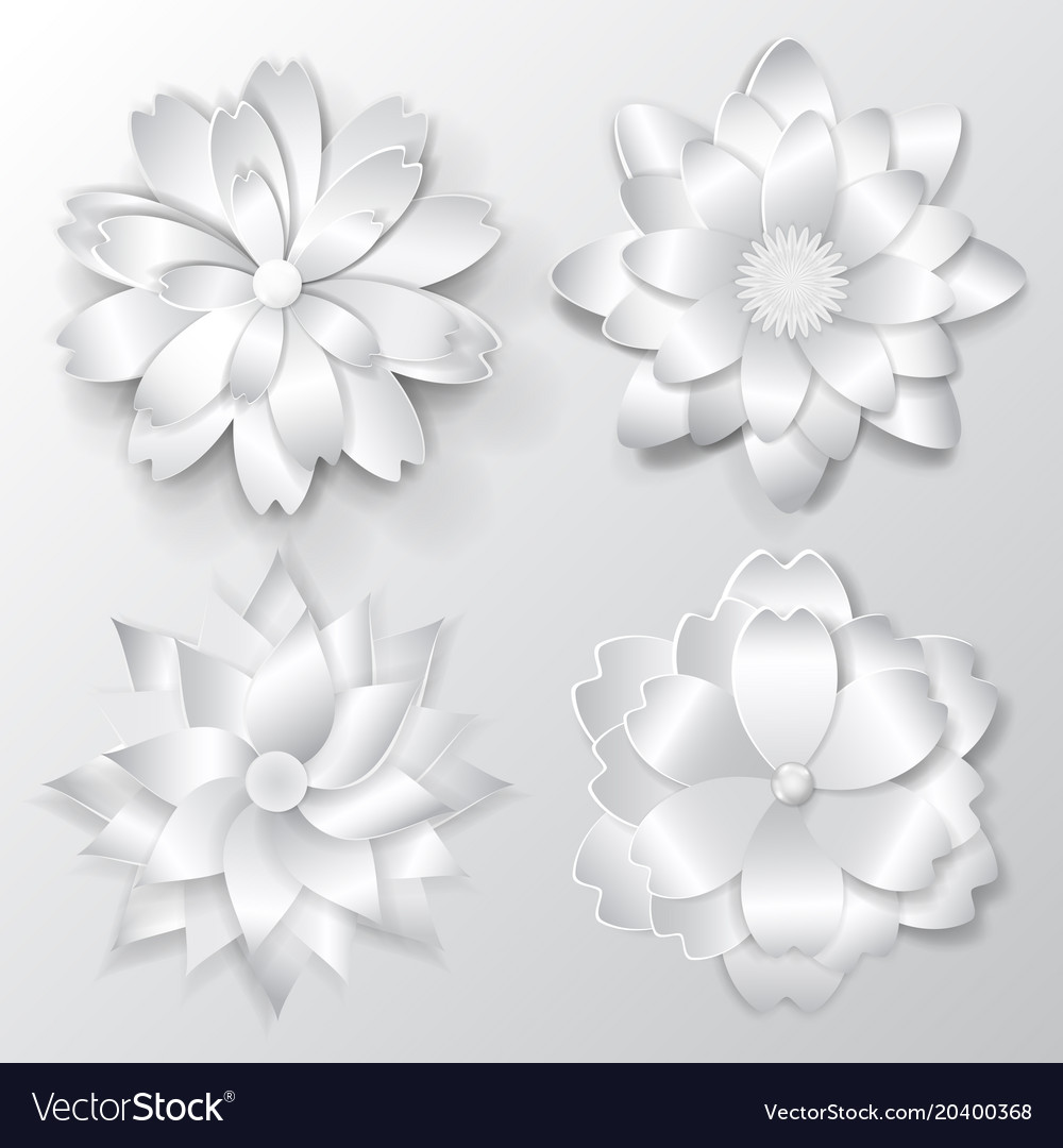 Set Of Paper Flowers Royalty Free Vector Image