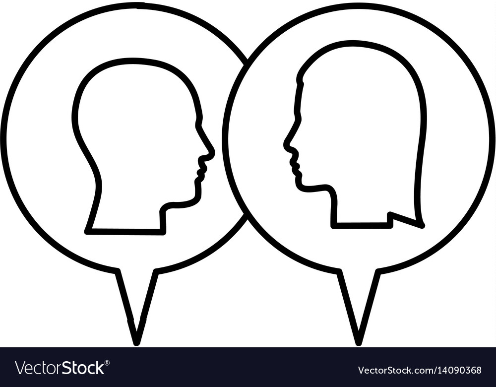 Silhouette Relief Dialogue Between Man And Woman Vector Image