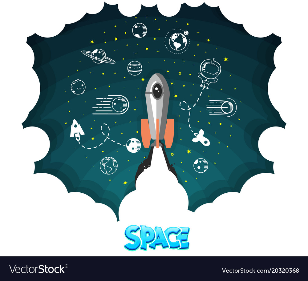 Space rocket science and shuttleplanets in orbit vector image