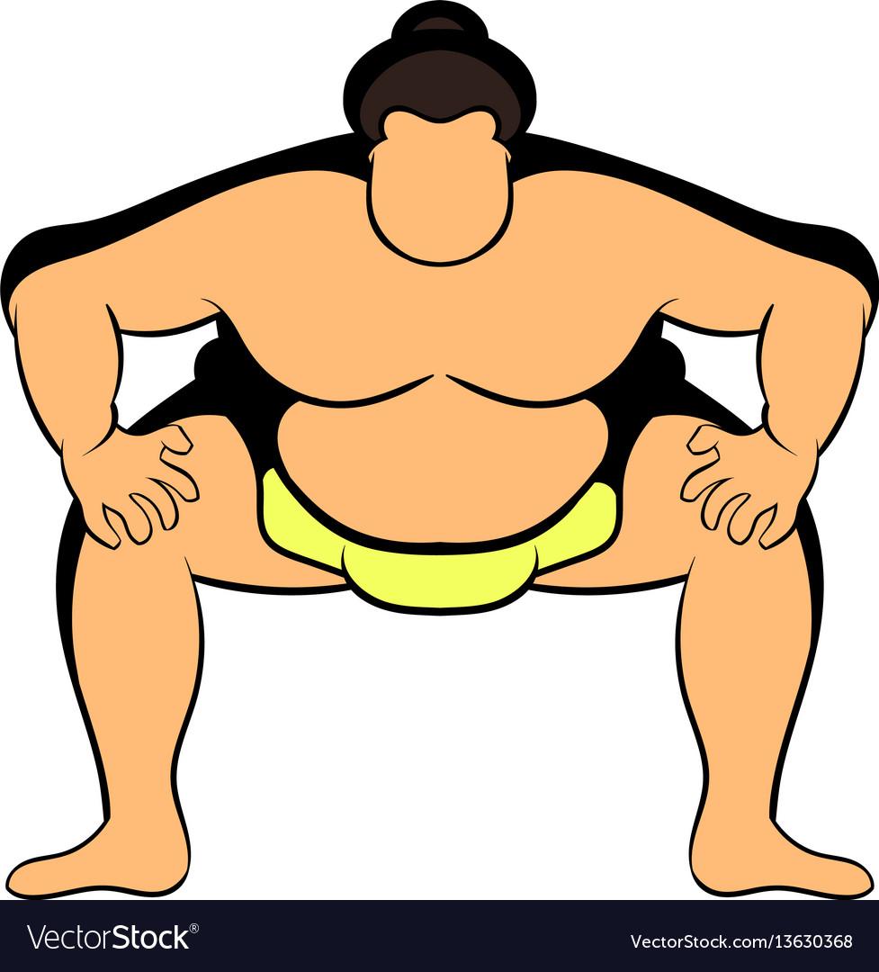 Sumo wrestler icon cartoon vector image