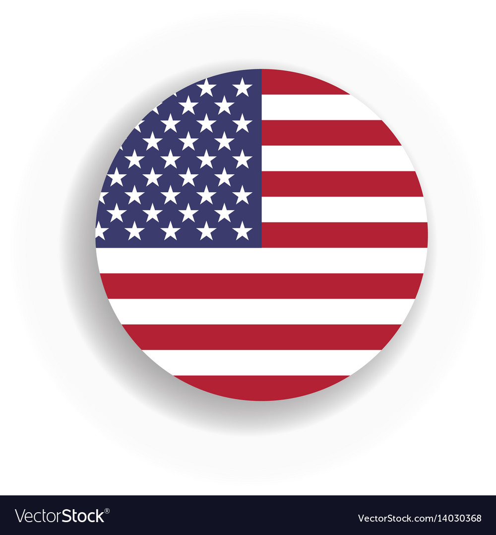 Usa flag int he circle with dropped shadow united