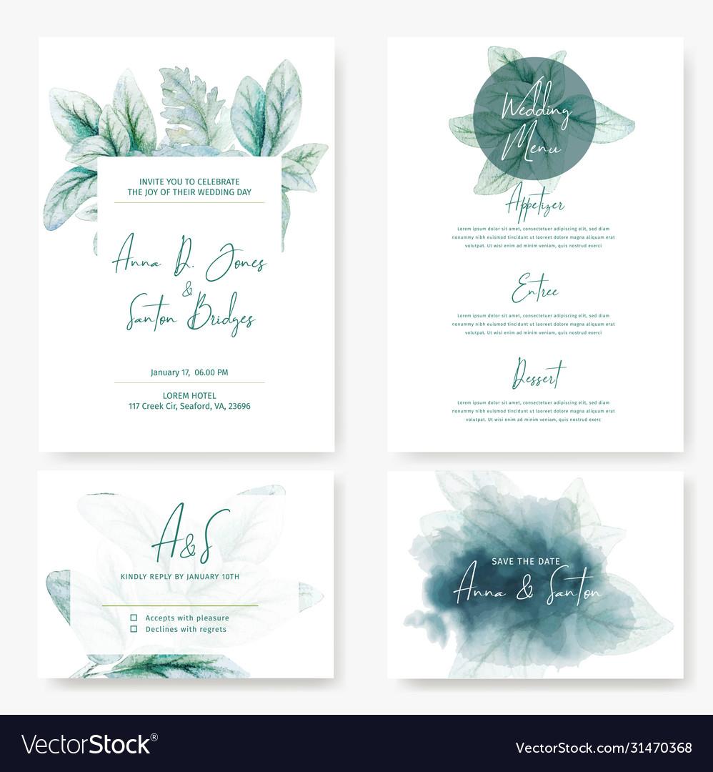 Wedding kit cardswith watercolor lamb ear leaves