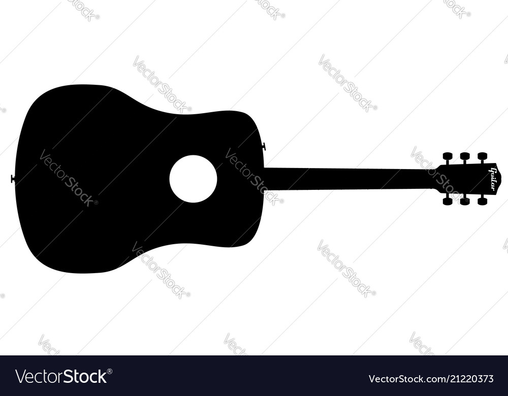 acoustic guitar silhouette royalty free vector image rh vectorstock com bass guitar silhouette vector free bass guitar silhouette vector