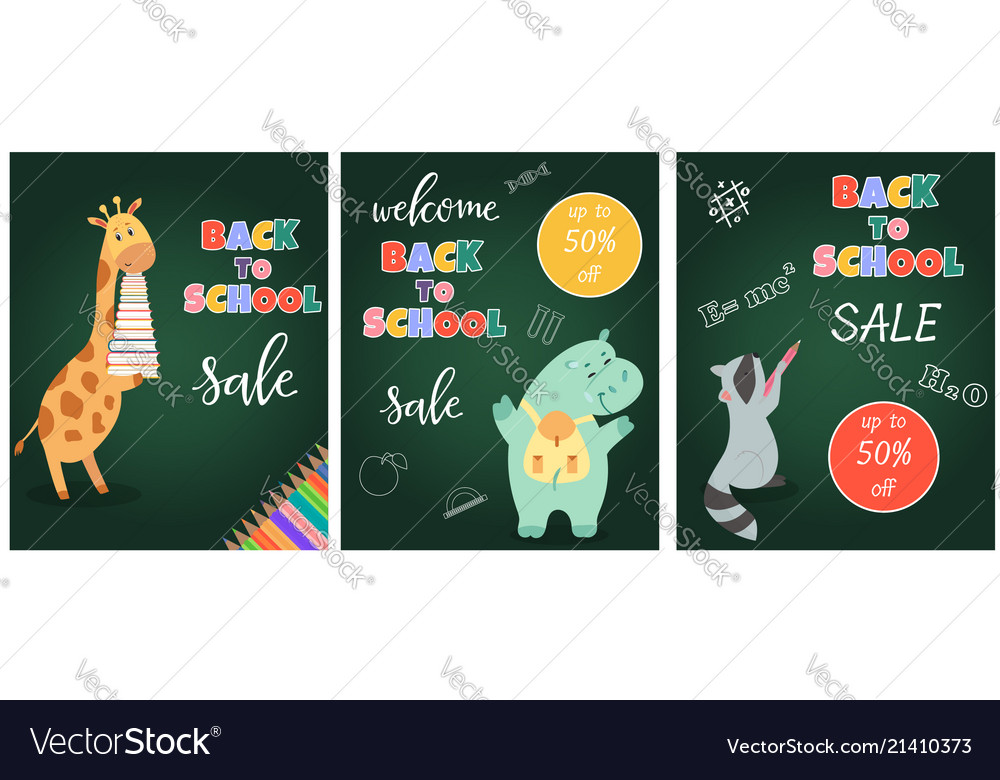 Back to school sale banner with cute animals