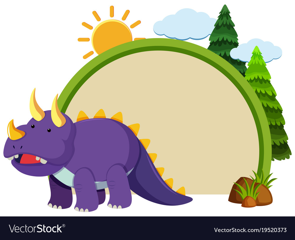 border template with purple triceratops royalty free vector