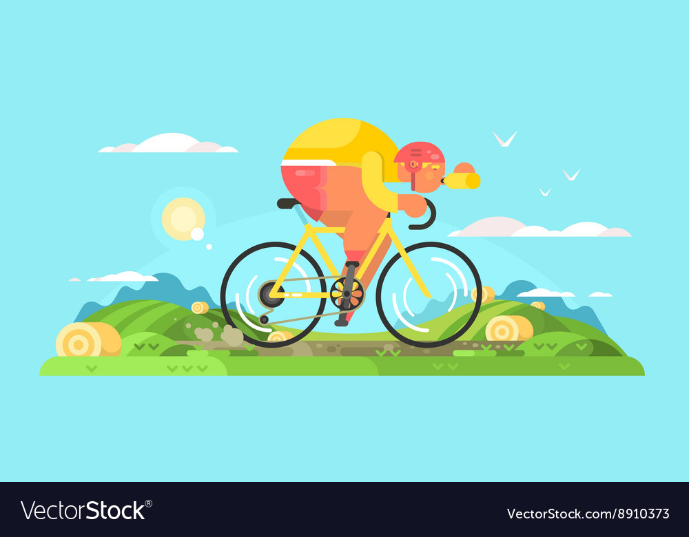 Cyclist sportsman on bike vector image