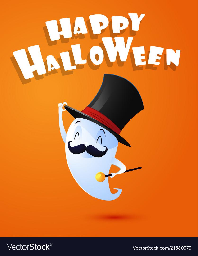 flying cute ghost spirit with hat happy halloween vector image on  vectorstock