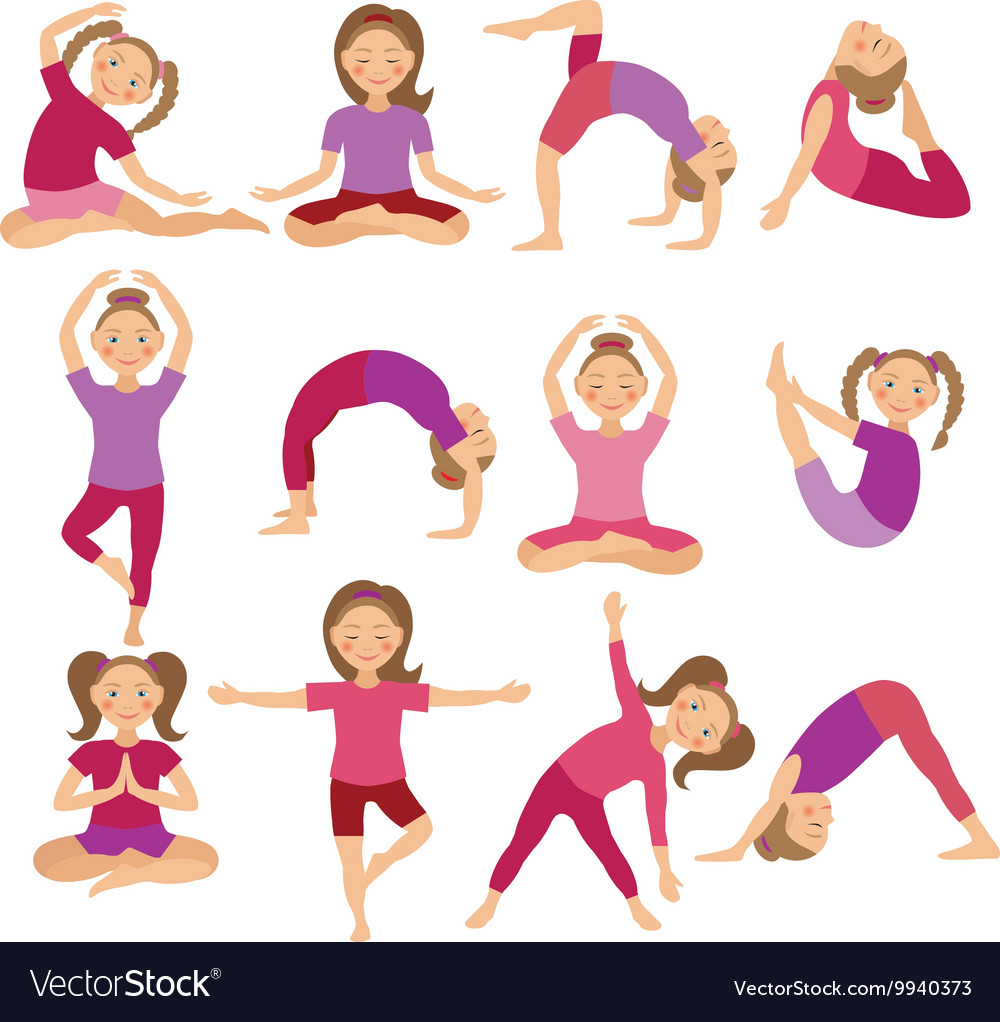 Kids Yoga Poses Child Doing Royalty Free Vector Image