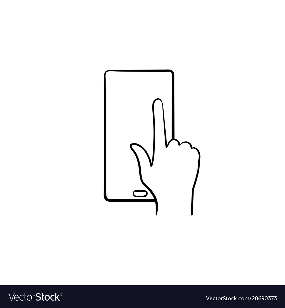 Phone touchscreen hand drawn sketch icon