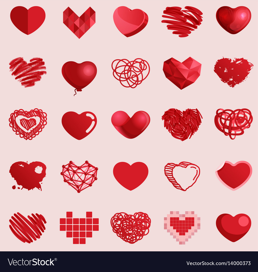 Red heart set icons vector image