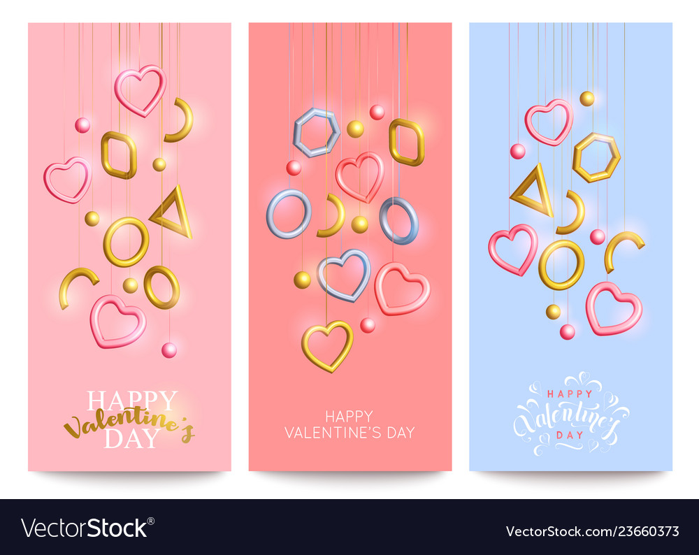 Set of colorful valentines day banner template