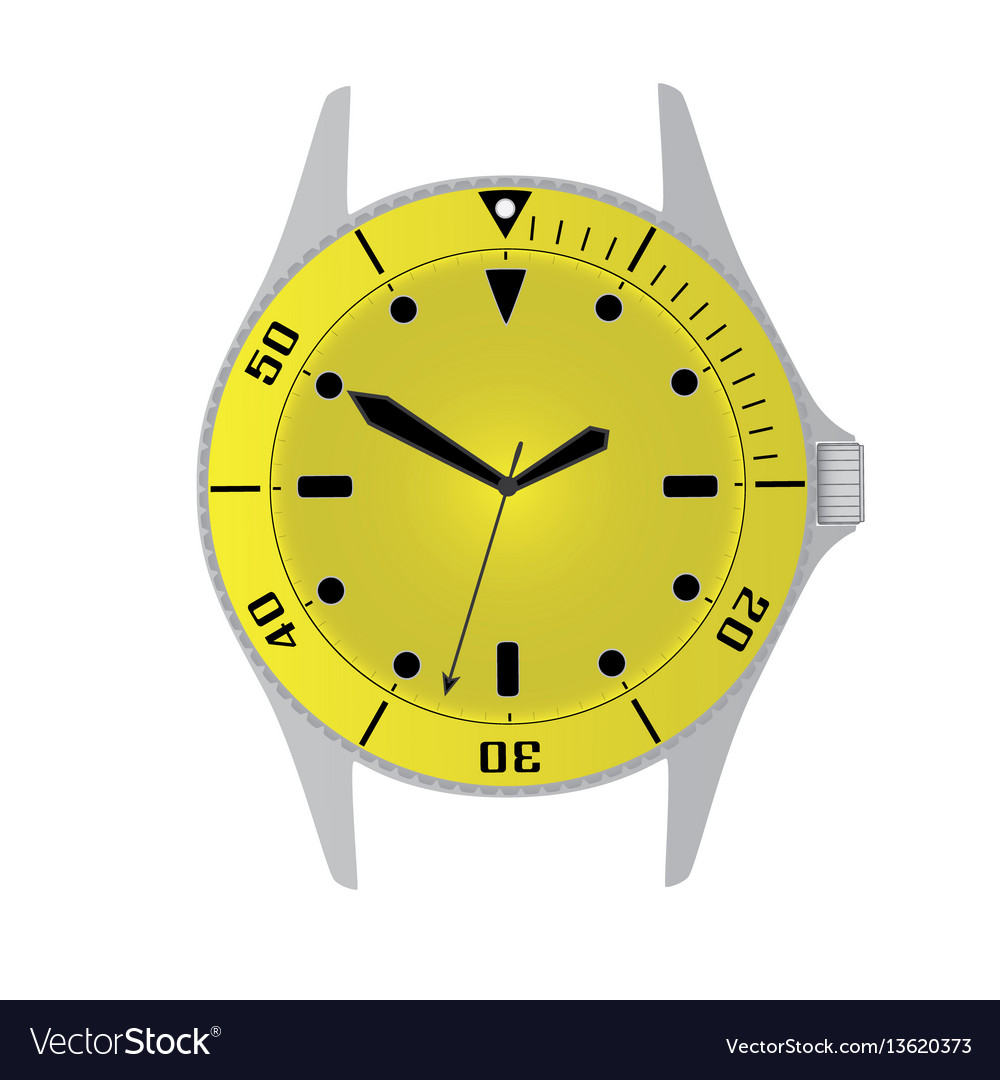 Simple modern sport divers style yellow watch case