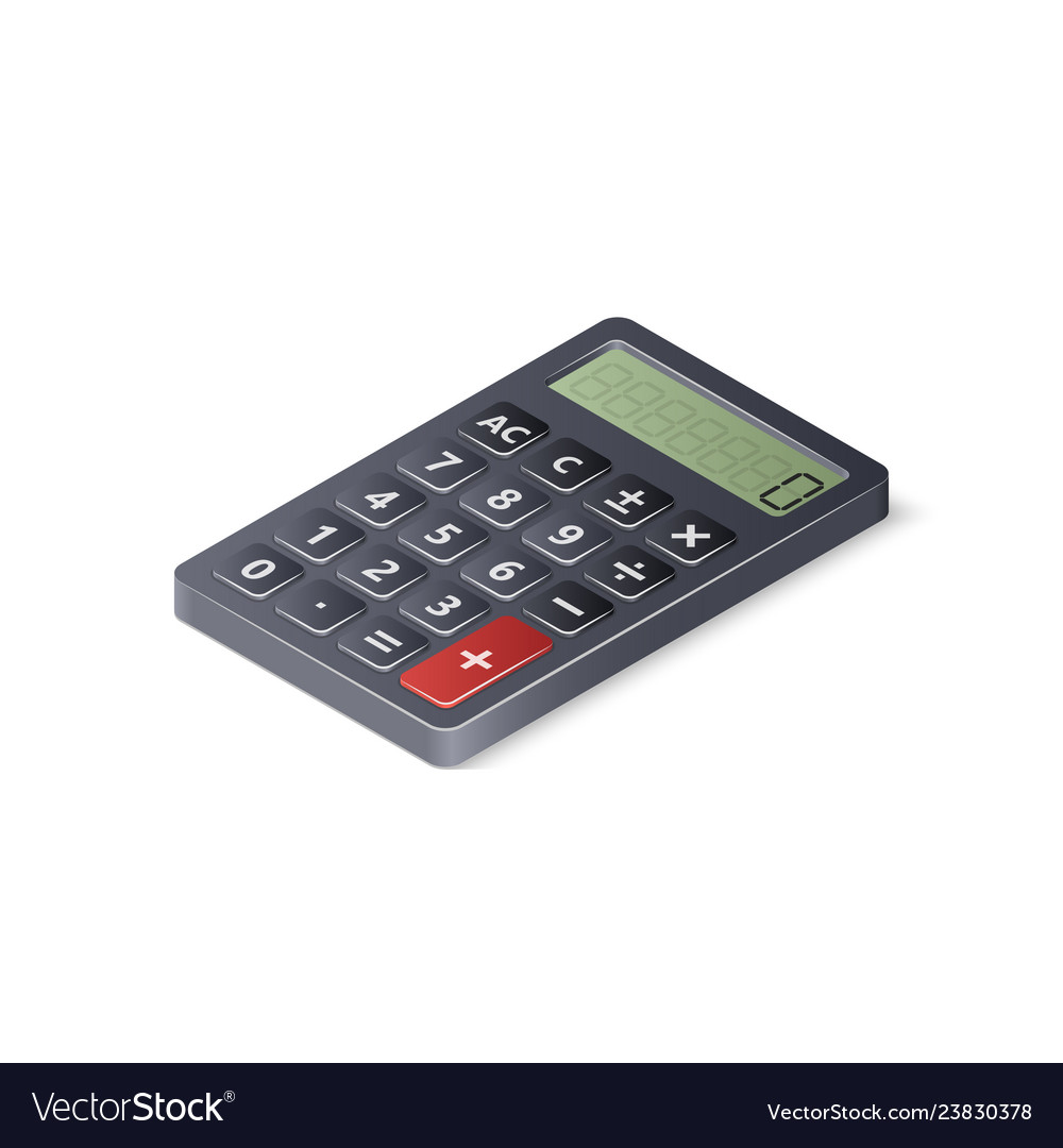 3d calculator isolated on white background