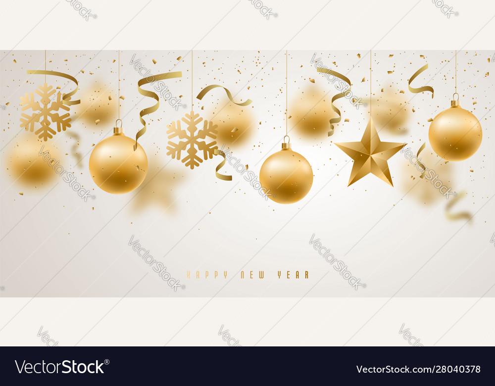 Banner with golden christmas decorative baubles