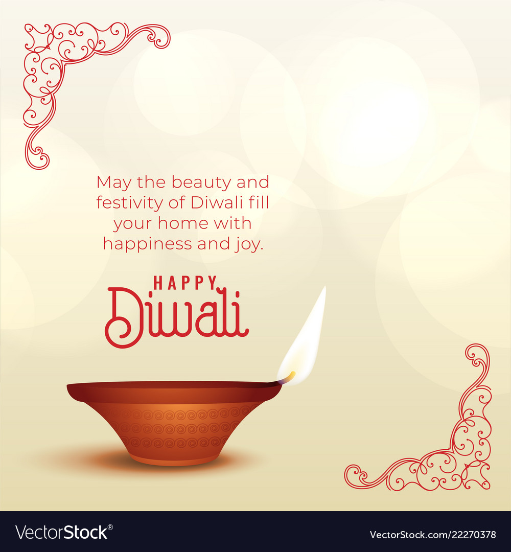 Beautiful Diwali Wishes Greeting With Diya Vector Image