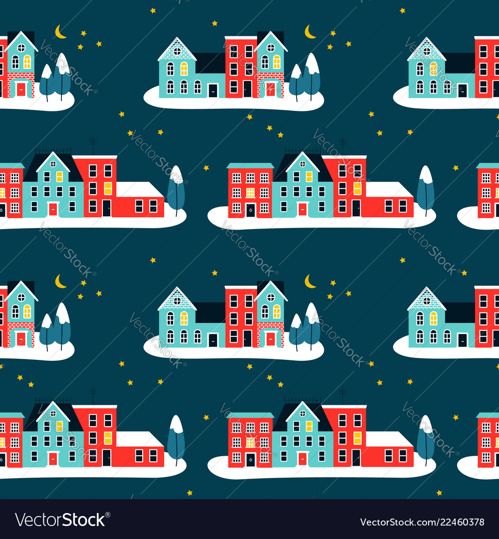 Christmas houses on winter seamless pattern