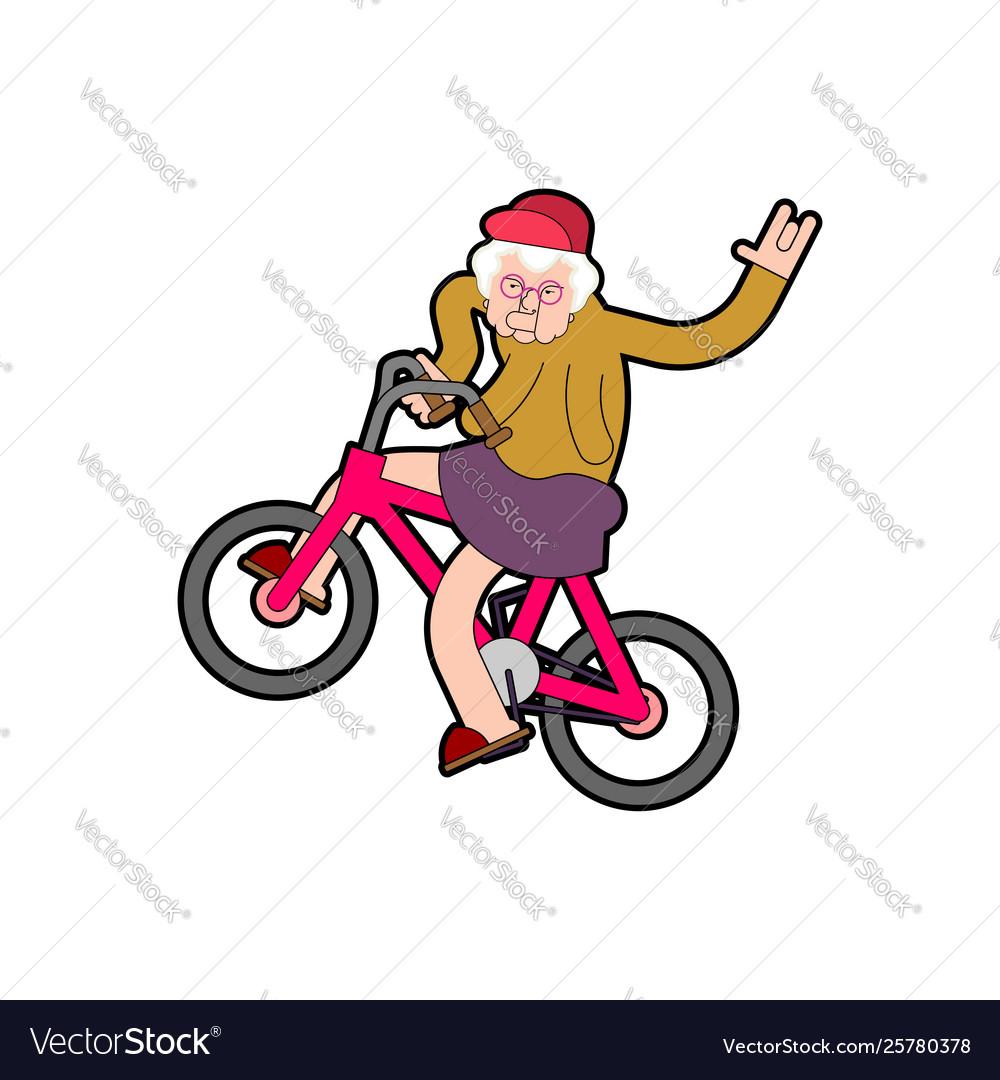 Cool grandmother on bicycle grandma on bmx old