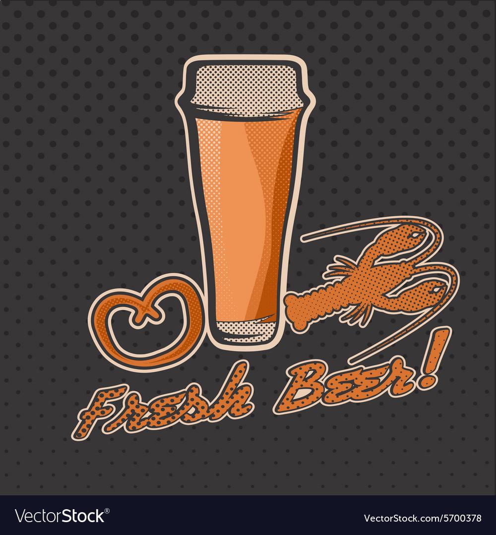 Glass of beer retro vector image