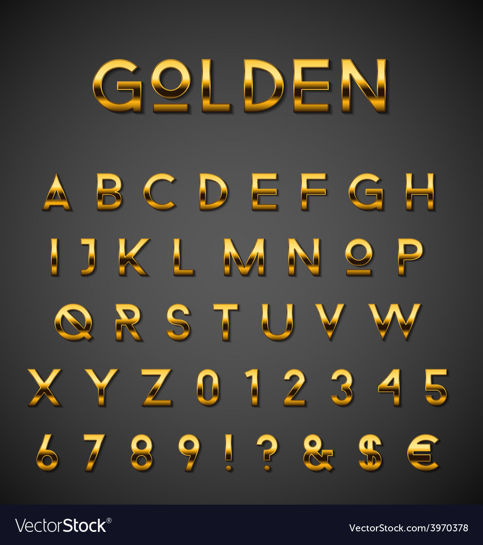 Golden alphabet set