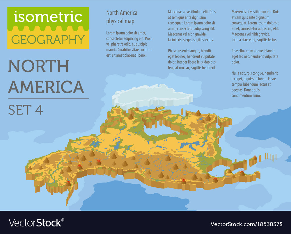 Isometric 3d north america physical map elements