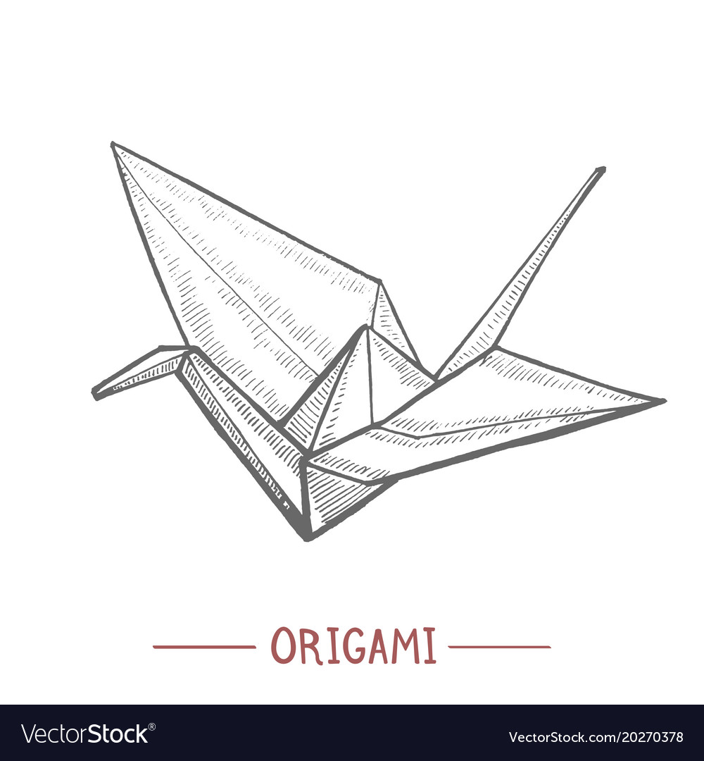 Origami Paper Crane In Hand Drawn Style Royalty Free Vector
