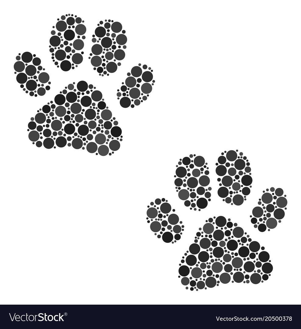 Paw footprints collage of dots