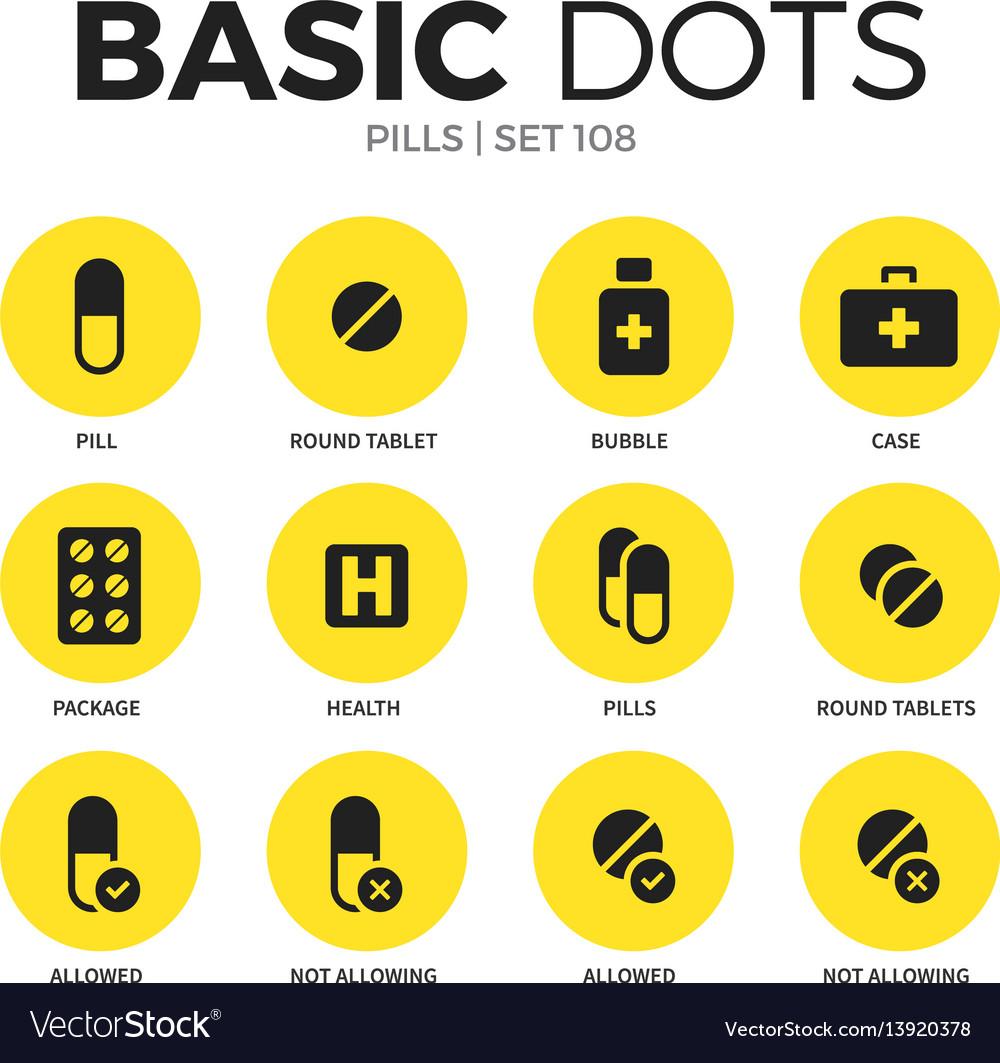 Pills flat icons set