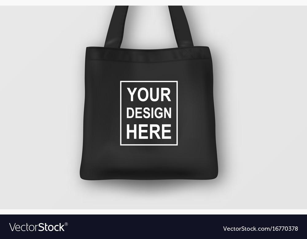 Realistic Black Empty Textile Tote Bag Vector Image