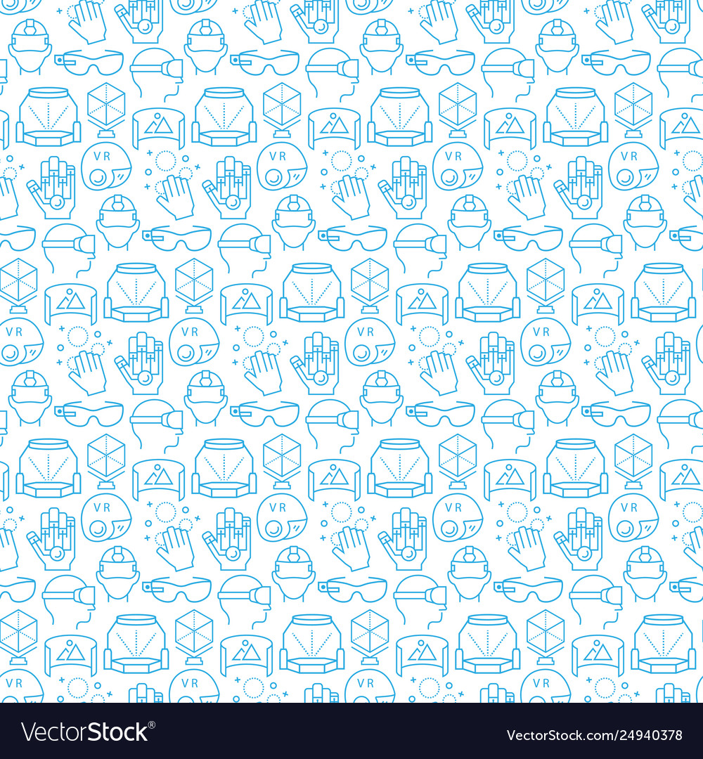 Seamless pattern with icons virtual reality