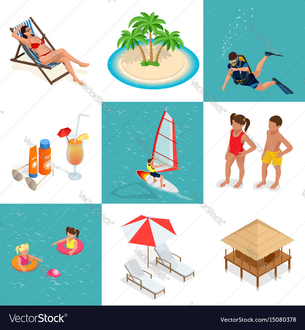 Summer set travel elements of sandy beach flat vector image