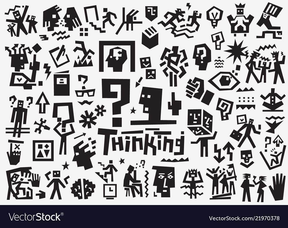 Thinking psychology - icon set design