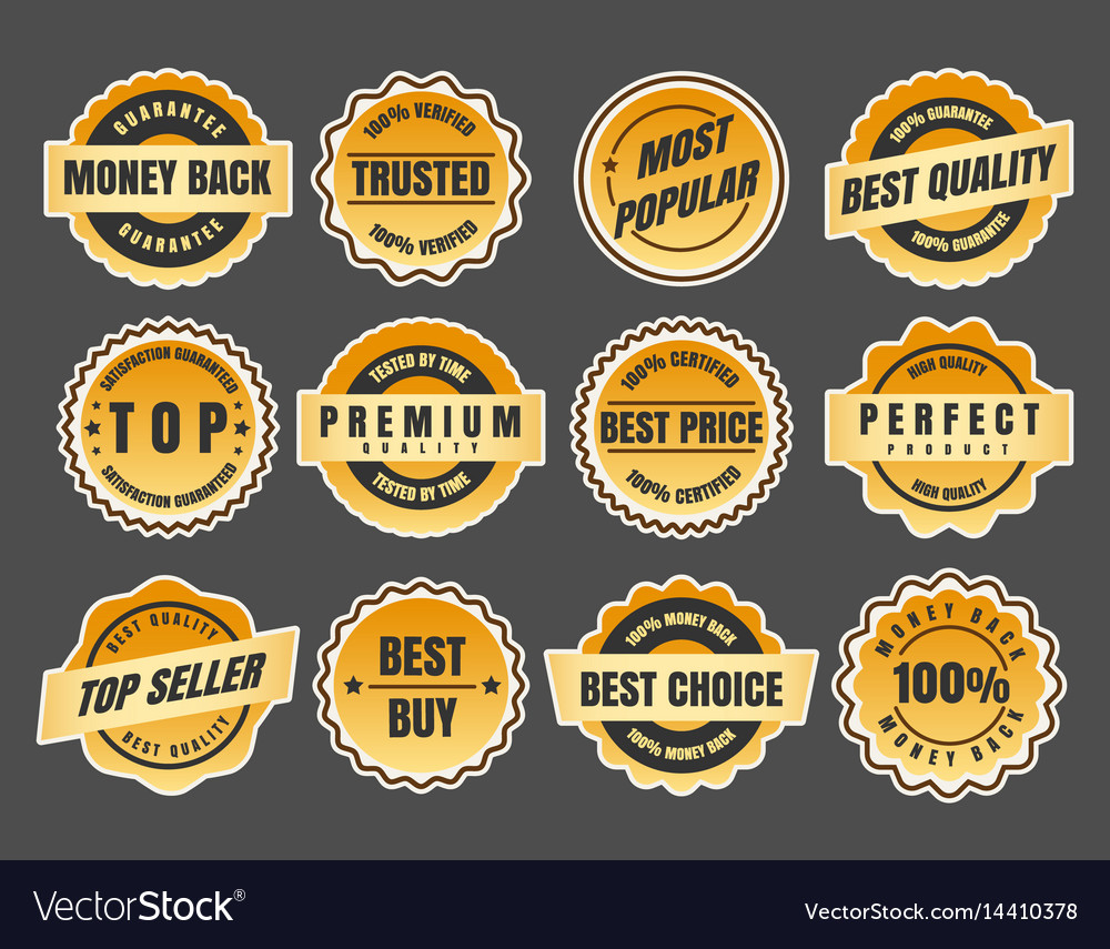 Warranty and guarantee labels vector image
