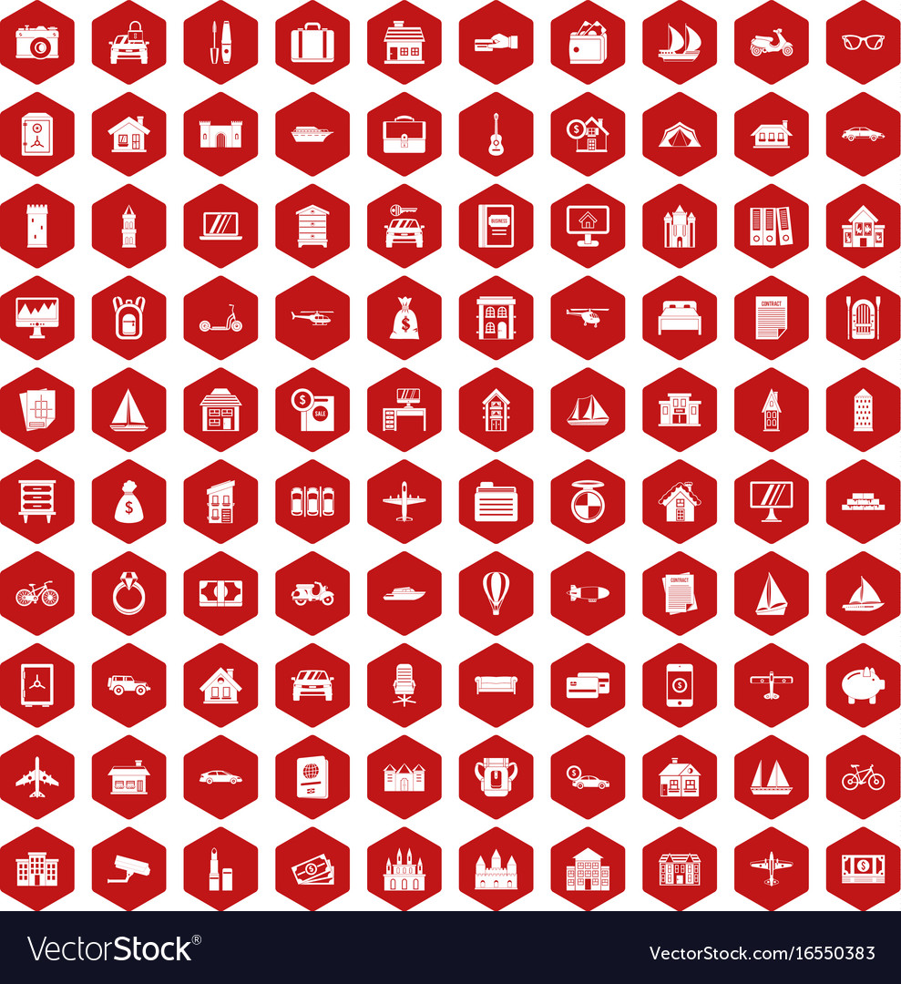 100 property icons hexagon red