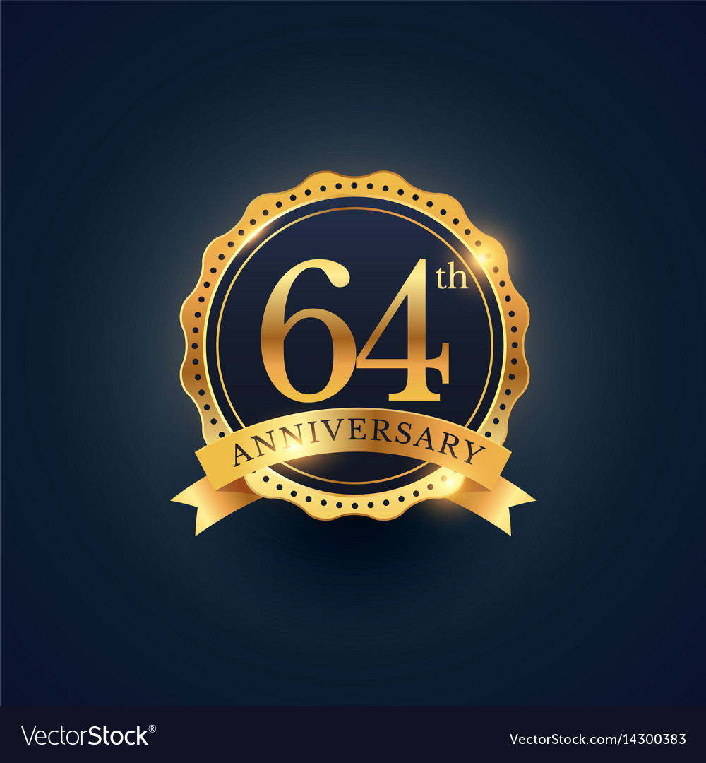 64th anniversary celebration badge label in vector image