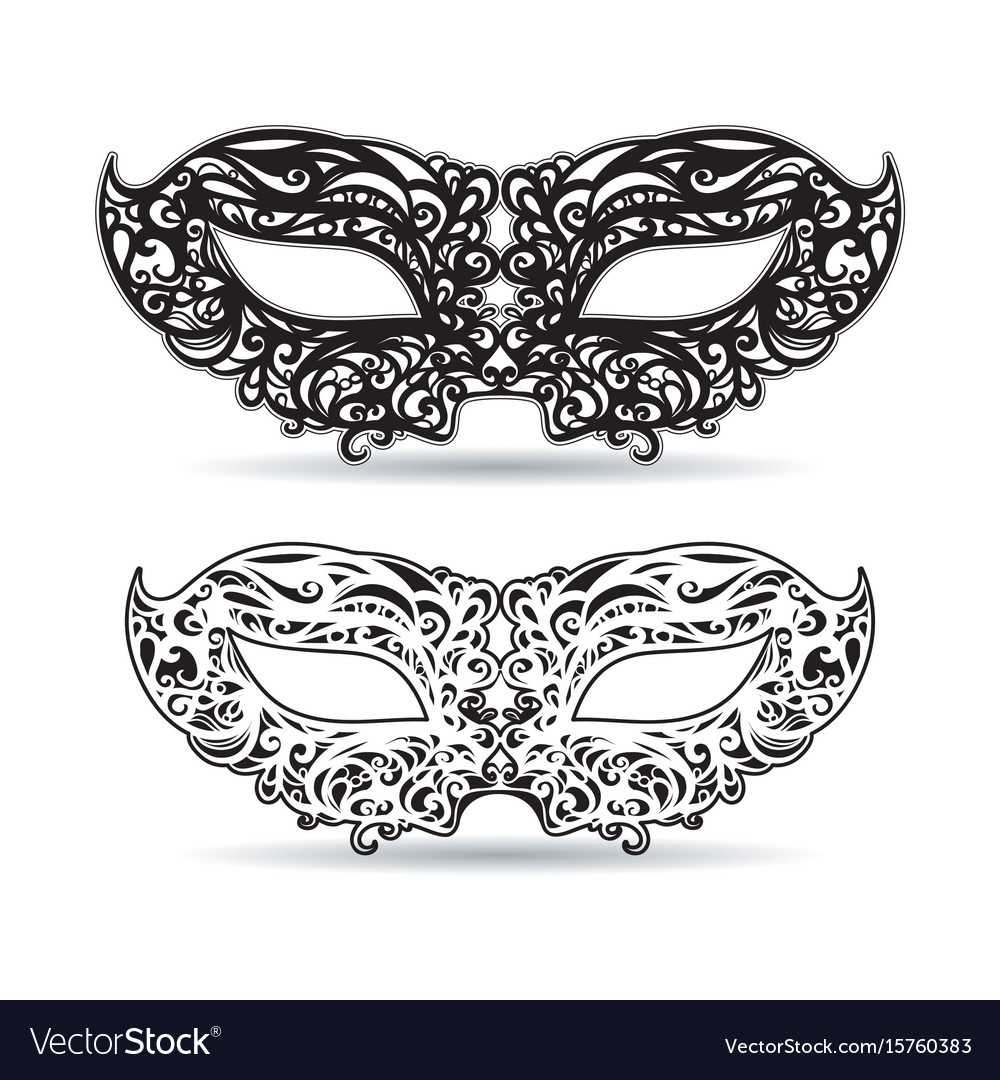 Black and white mask with patterned ornament vector image