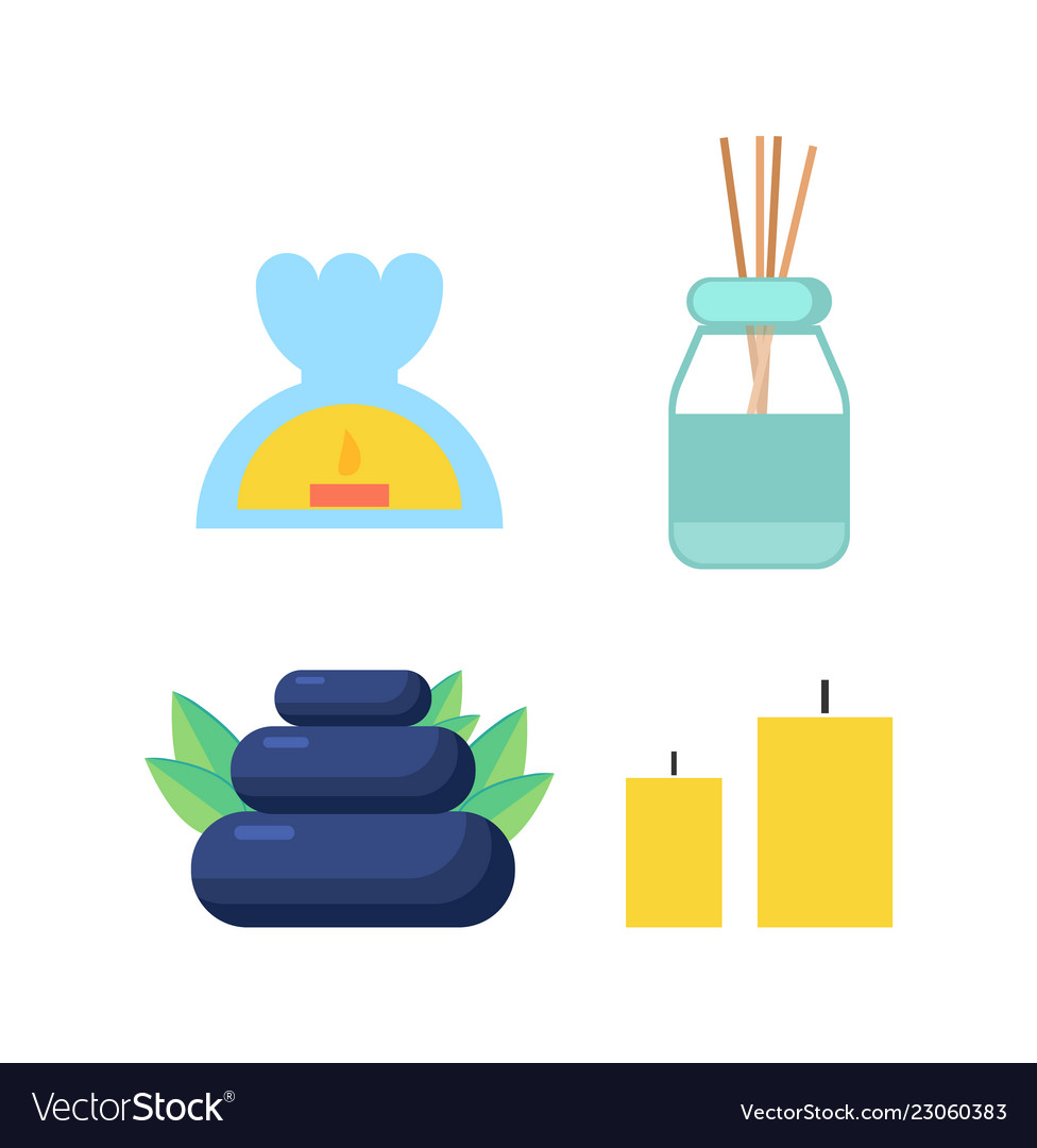 Candle And Stone Oil And Sticks For Spa Cartoon Vector Image
