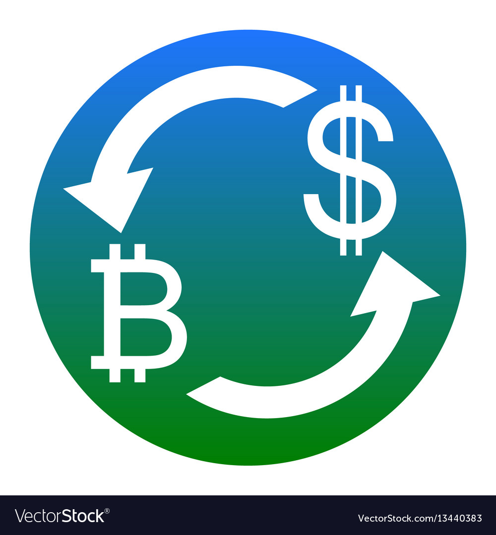 Sign Bitcoin And Us Dollar Vector Image