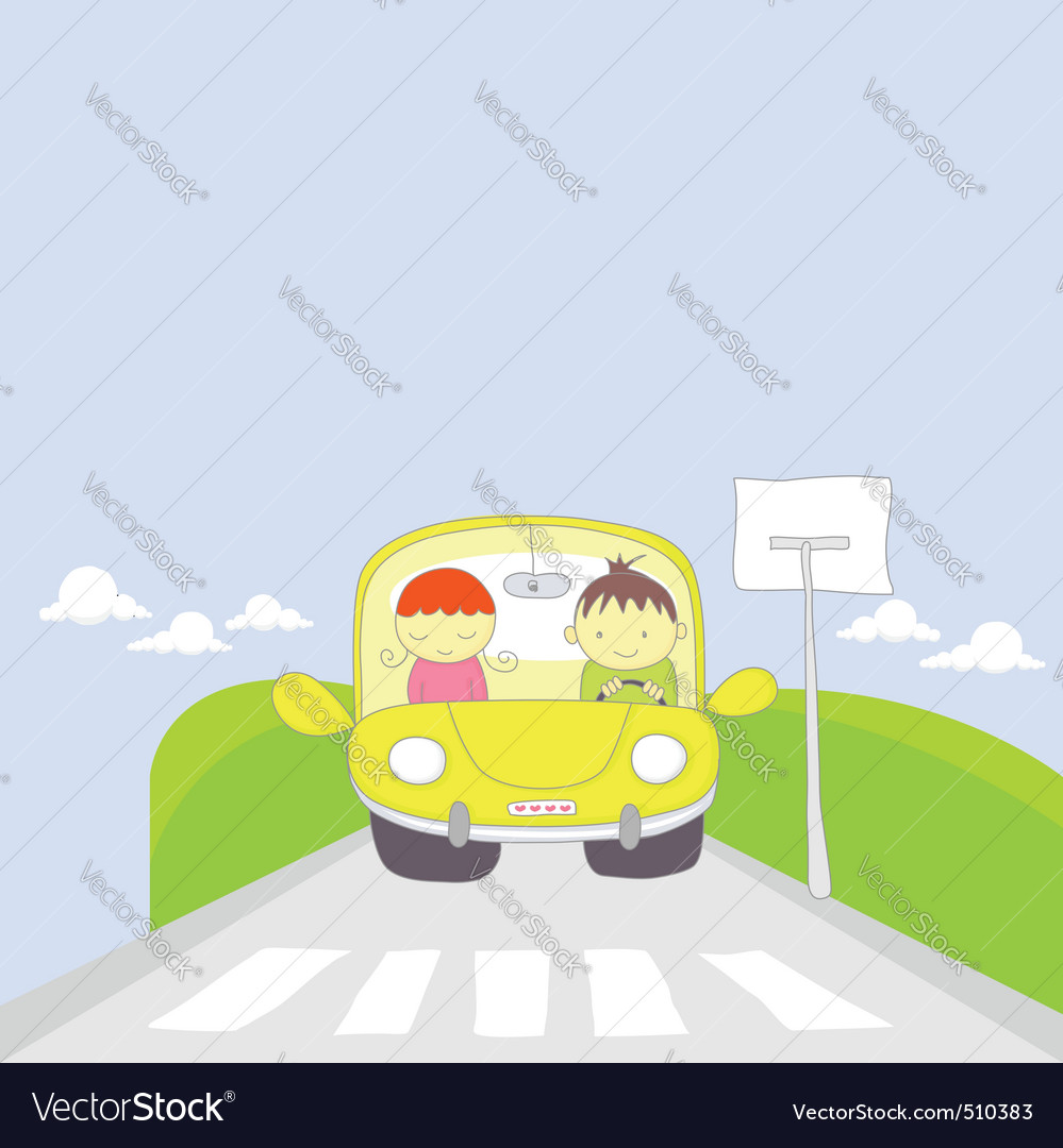 Cute cartoon couple traveling by car