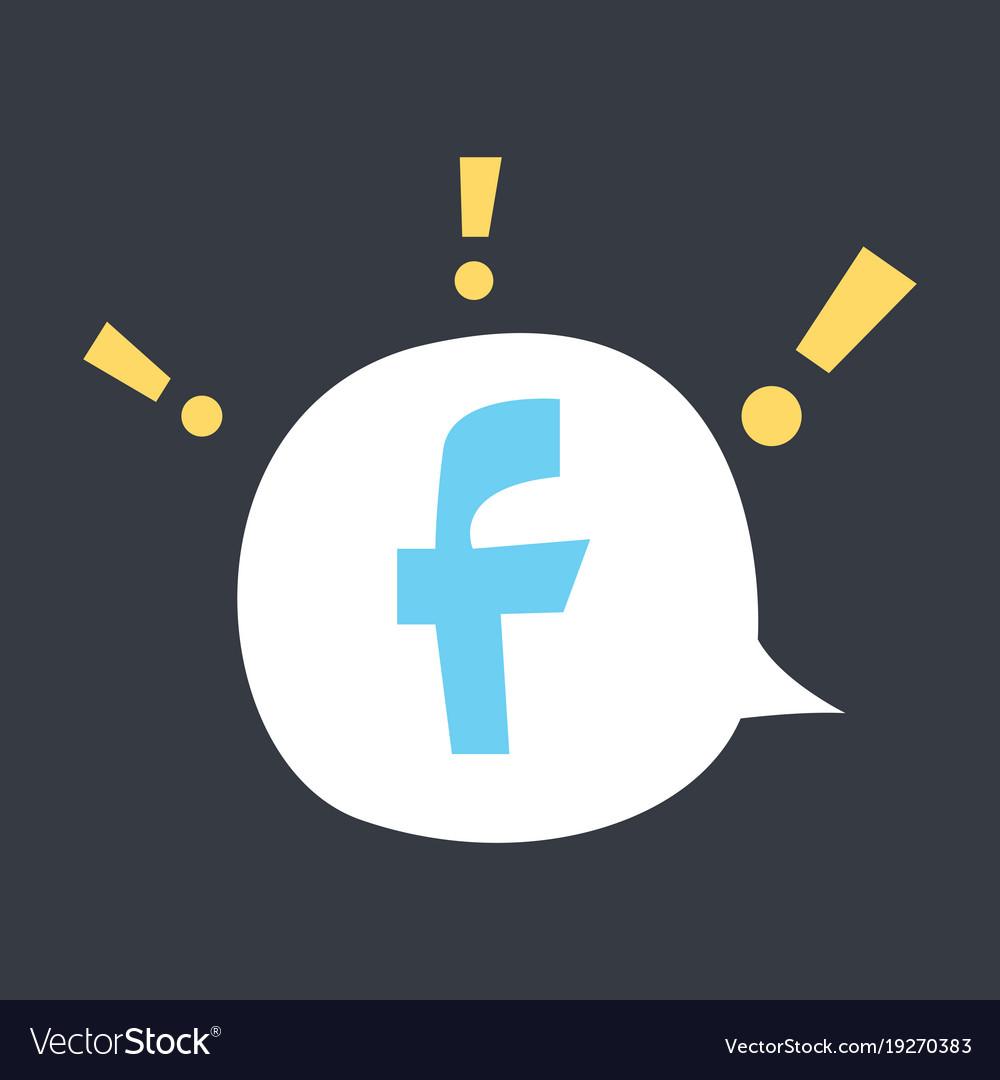 Facebook logotype social network icon vector image on VectorStock