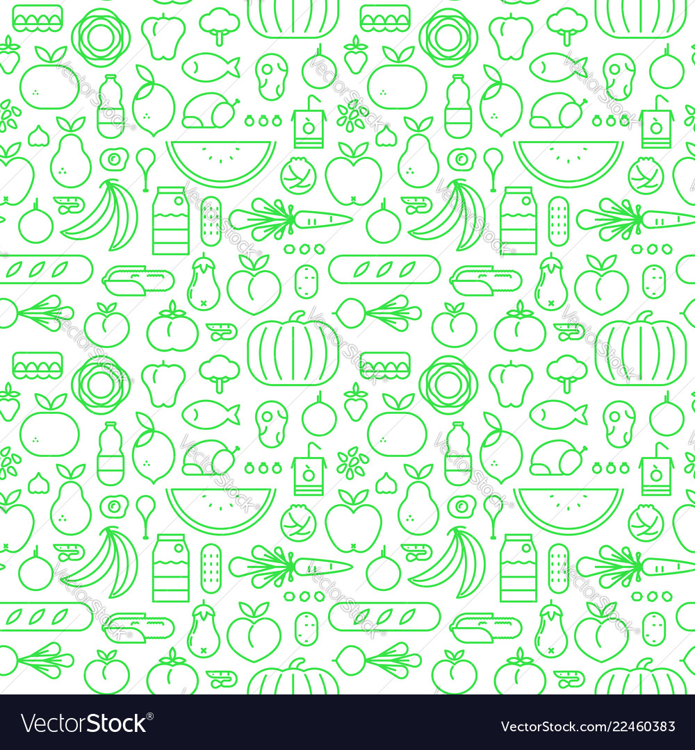 Food seamless pattern line icons design background