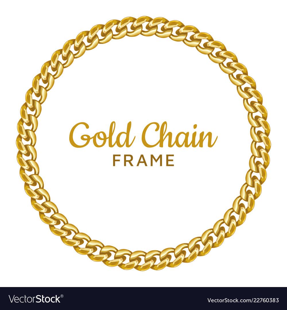 Golden chain round border frame seamless wreath