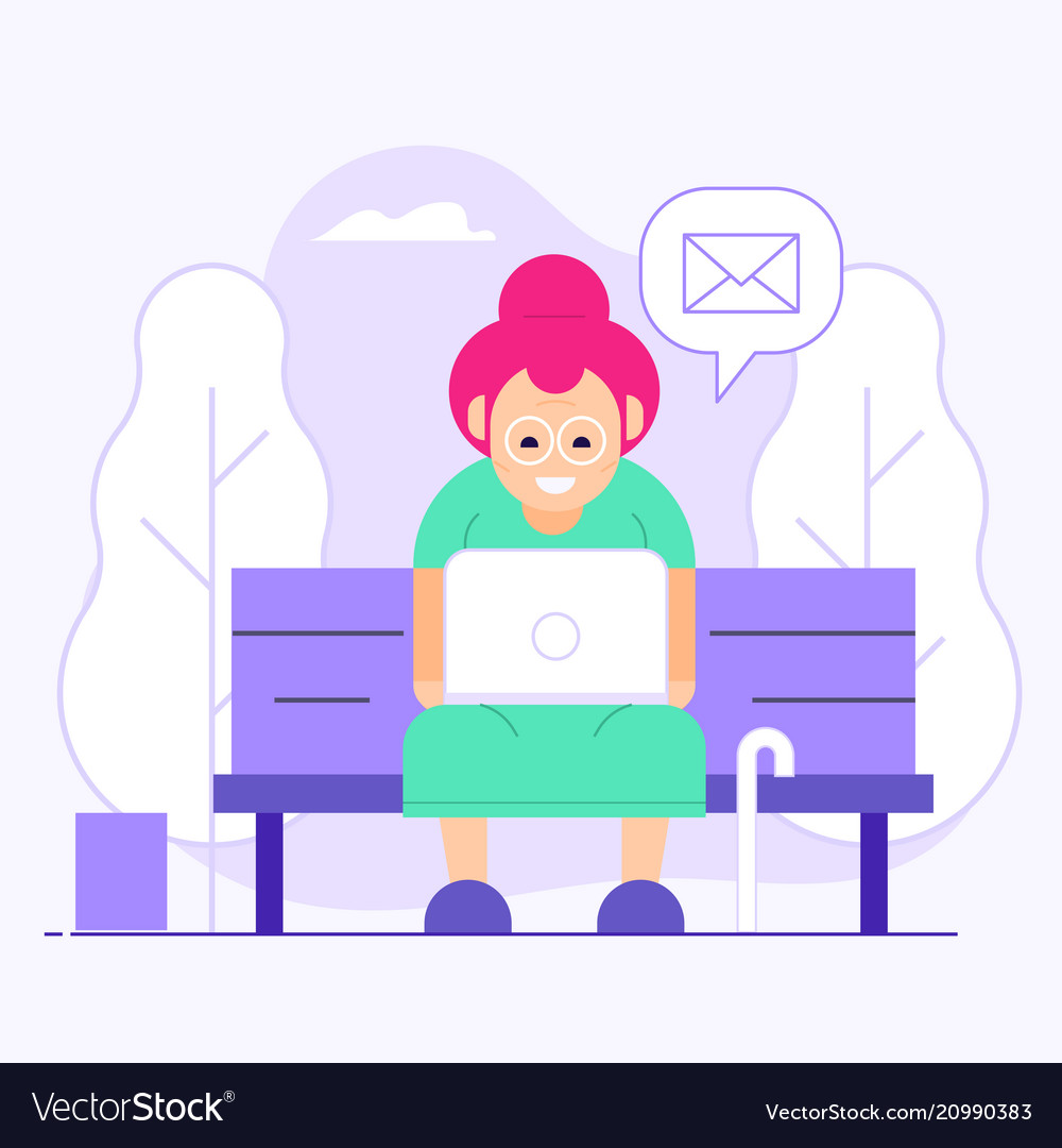 Old woman chatting on social media in park