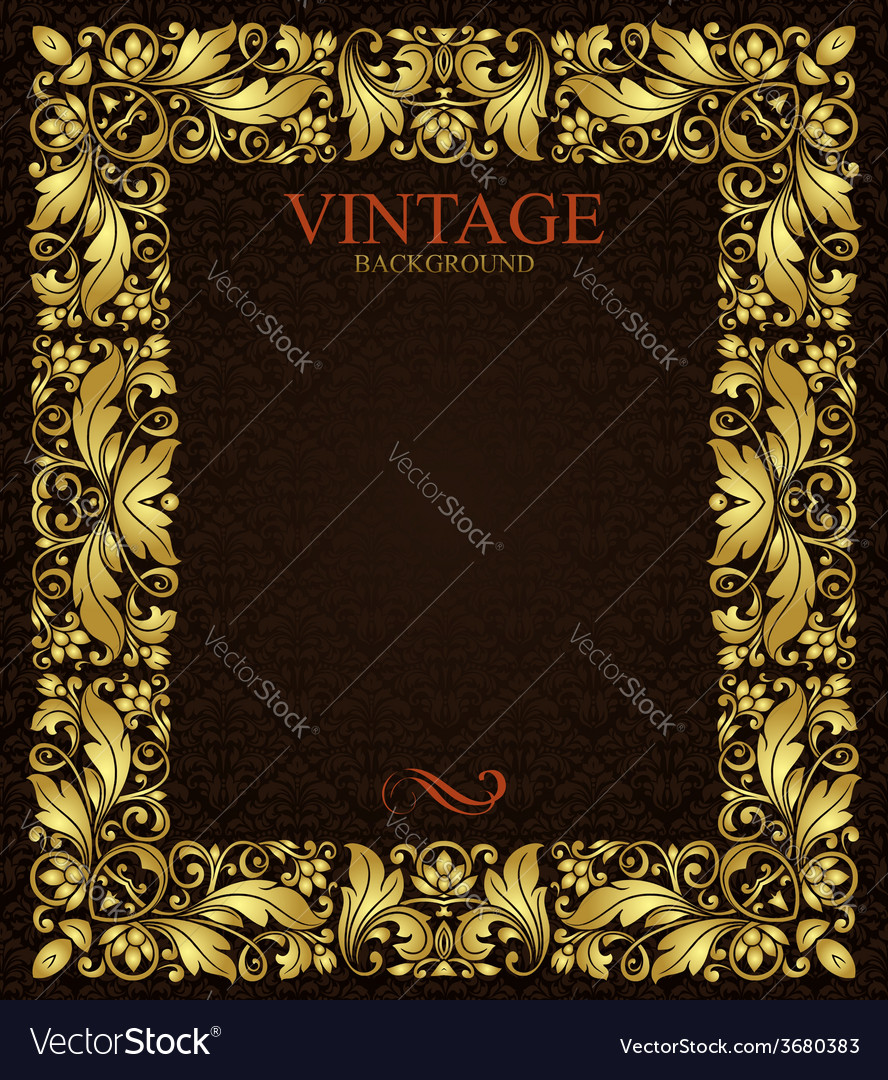 Ornate gold frame vector image