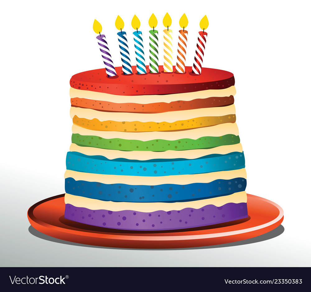 Admirable Rainbow Birthday Cake Royalty Free Vector Image Funny Birthday Cards Online Elaedamsfinfo